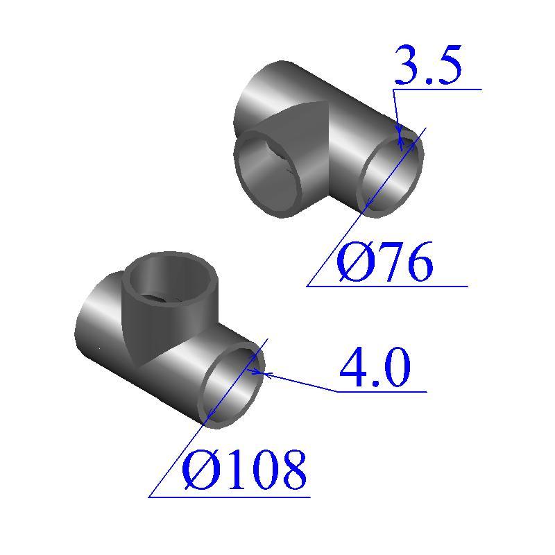 Тройник 108х4-76х3,5