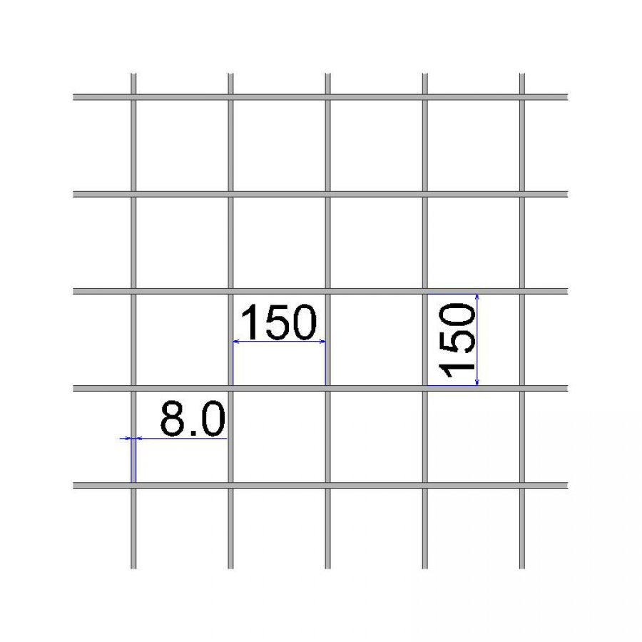 Сетка сварная 150х150х8 А500С размер карты 2х6