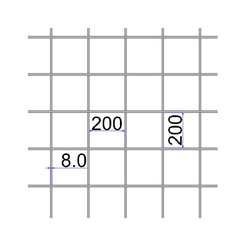 Сетка сварная 200х200х8 А500C размер карты 2х6