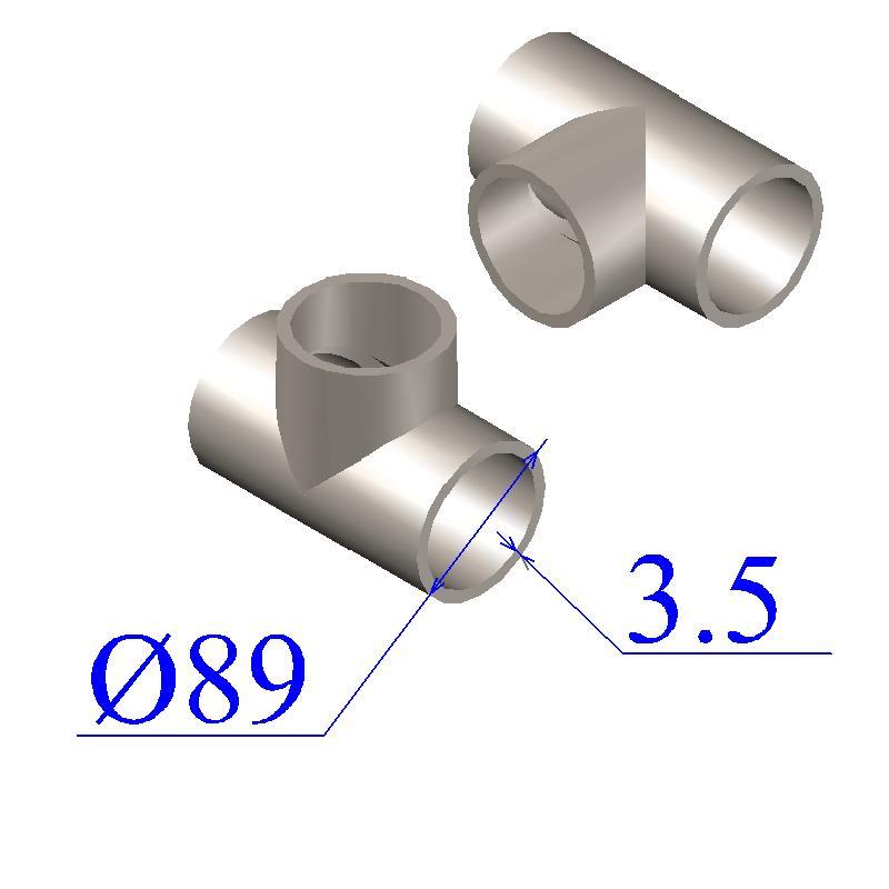 Тройник оцинкованный 89х3,5-76х3,5