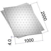 Лист стальной нержавеющий AISI 304 г/к с чечевичным рифлением 4х1000х2000