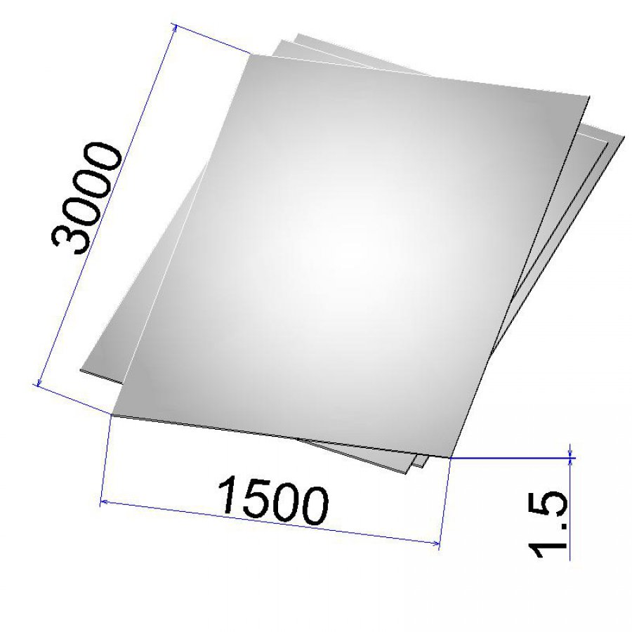 Лист стальной нержавеющий AISI 304 х/к 1.5х1500х3000