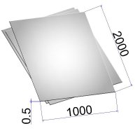 Лист стальной нержавеющий AISI 304 х/к в пленке 0.5х1000х2000