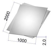 Лист стальной нержавеющий AISI 304 х/к зеркальный с 2-х сторон 2х1000х2000