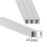 Труба квадратная AISI 304 DIN 2395 100х100х2
