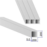 Труба квадратная AISI 304 DIN 2395 200х200х5