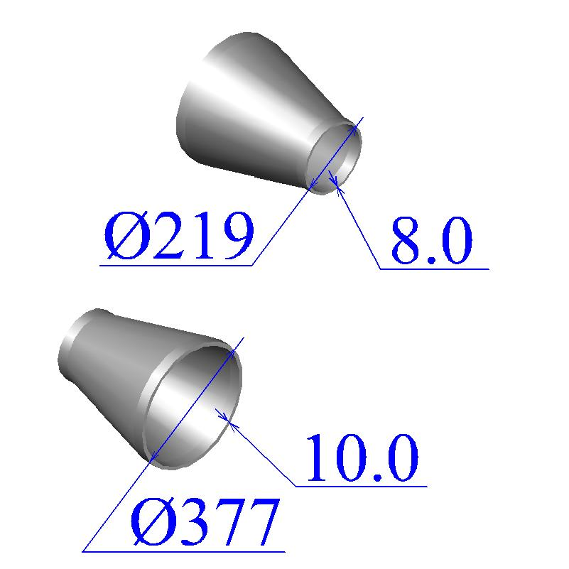 Переходы стальные 377х10-219х8