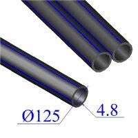 Труба ПНД D 125х4,8 напорная ПЭ 80
