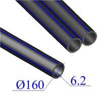 Труба ПНД D 160х6,2 напорная ПЭ 80