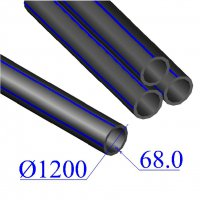 Труба ПНД D 1200х68,0 напорная ПЭ 100