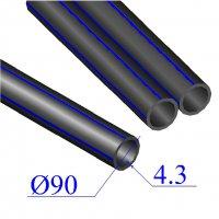 Труба ПНД D 90х4,3 напорная ПЭ 100