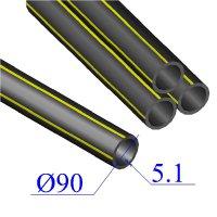 Труба ПНД D 90х5,1 газовая ПЭ 100