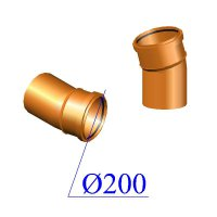 Отвод ПВХ для наружной канализации 200х15 гр.