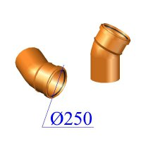 Отвод ПВХ для наружной канализации 250х30 гр.