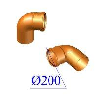 Отвод ПВХ для наружной канализации 200х87 гр.