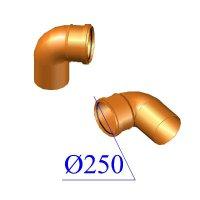 Отвод ПВХ для наружной канализации 250х87 гр.