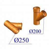 Тройник ПВХ для наружной канализации 250х200х45 гр.