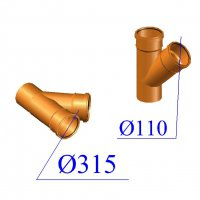 Тройник ПВХ для наружной канализации 315х110х45 гр.