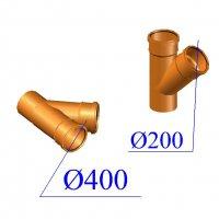 Тройник ПВХ для наружной канализации 400х200х45 гр.