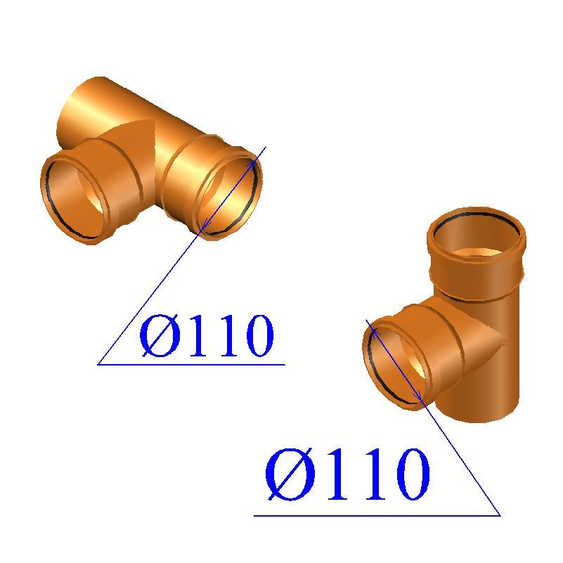 Тройник ПВХ для наружной канализации 110х110х87 гр.