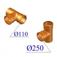 Тройник ПВХ для наружной канализации 250х110х87 гр.