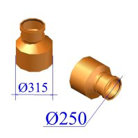 Редуктор ПВХ для наружной канализации 315/250
