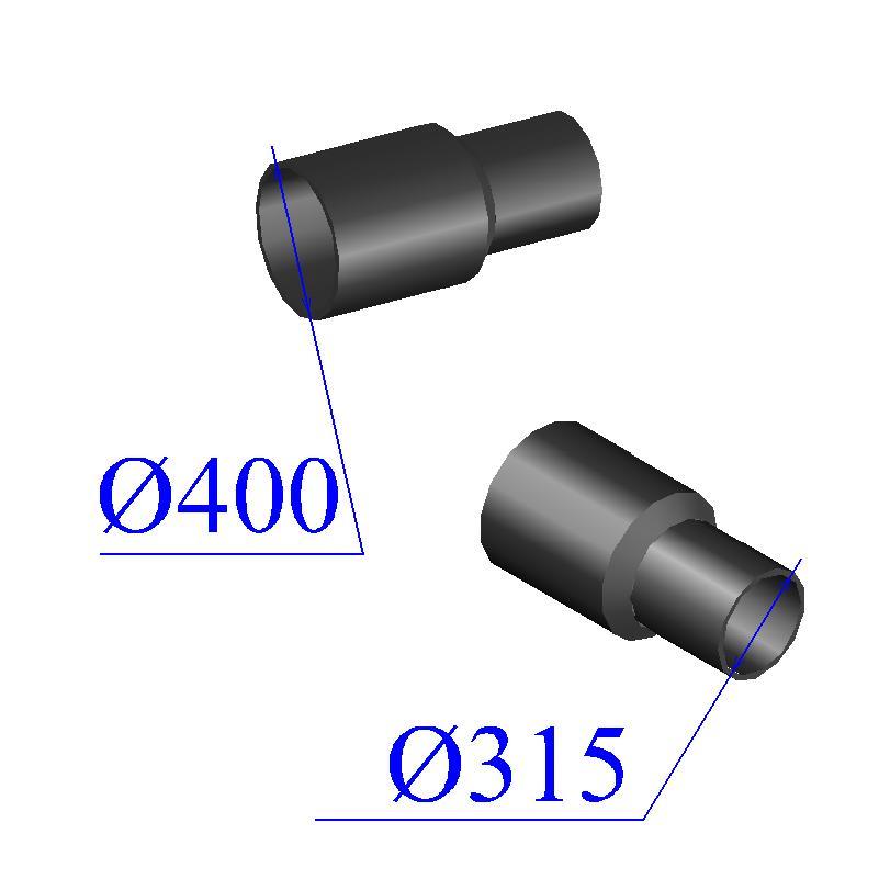 Переход ПНД литой D 400х315 ПЭ 100 SDR 17