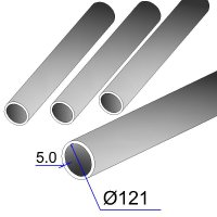 Труба бесшовная 121х5 сталь 20