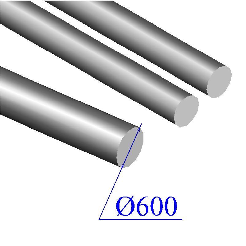 Круг кованый 600 мм сталь 45 обточенный, УЗК