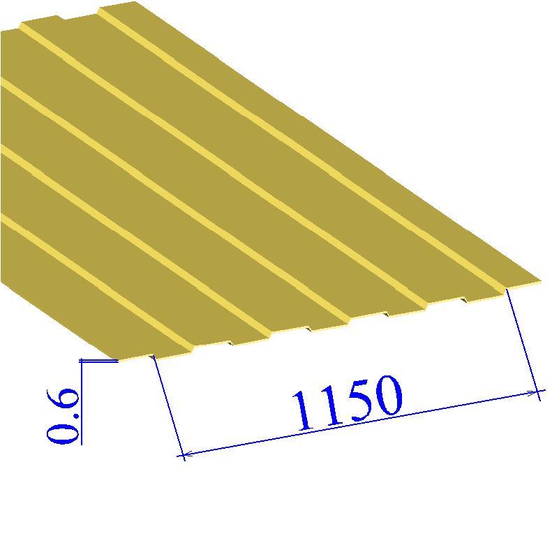 Профнастил окрашенный RAL 1018 С8 0.6х1150
