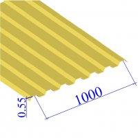 Профнастил окрашенный RAL 1018 С21 0.55х1000