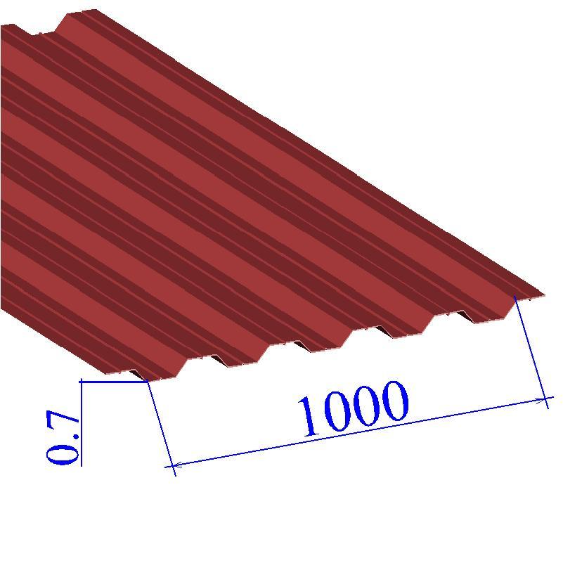 Профнастил окрашенный RAL 3003 НС35 0.7х1000