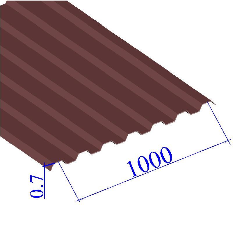 Профнастил окрашенный RAL 3005 С21 0.7х1000