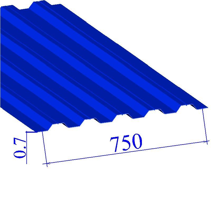 Профнастил окрашенный RAL 5005 Н75 0.7х750