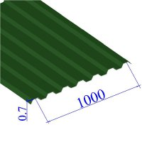 Профнастил окрашенный RAL 6002 С21 0.7х1000