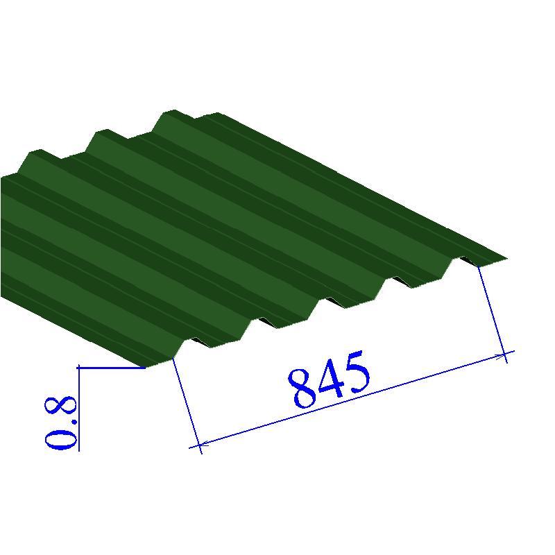 Профнастил окрашенный RAL 6002 Н60 0.8х845
