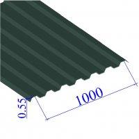 Профнастил окрашенный RAL 6005 С21 0.55х1000