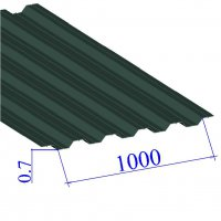 Профнастил окрашенный RAL 6005 НС35 0.7х1000