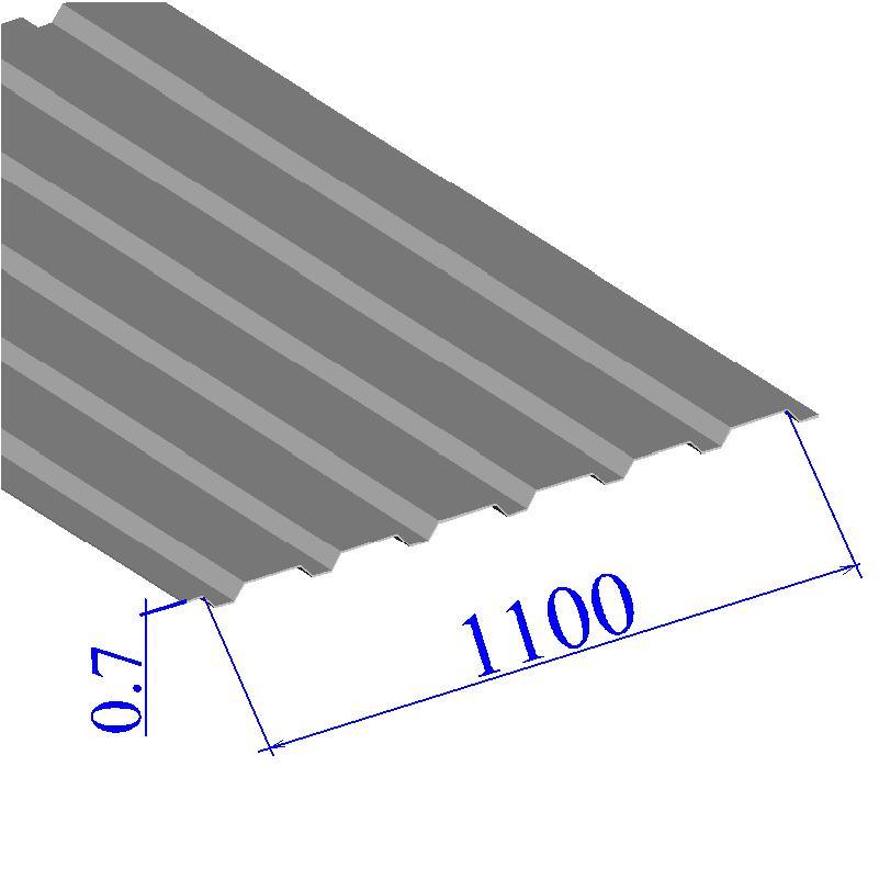 Профнастил окрашенный RAL 9006 С20 0.7х1100