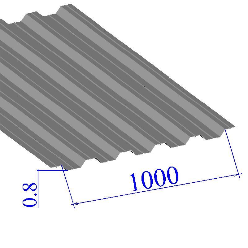 Профнастил окрашенный RAL 9006 НС44 0.8х1000