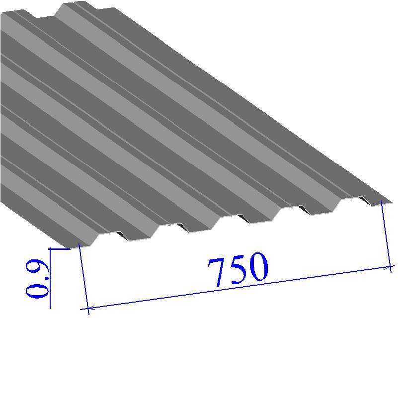 Профнастил окрашенный RAL 9006 Н75 0.9х750