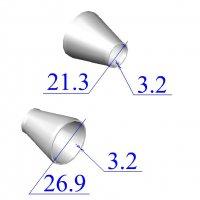 Переходы стальные 26,9х3,2-21,3х3,2 концентрические оцинкованные