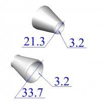 Переходы стальные 33,7х3,2-21,3х3,2 концентрические оцинкованные