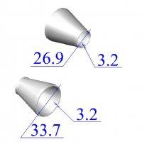 Переходы стальные 33,7х3,2-26,9х3,2 концентрические оцинкованные