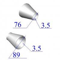 Переходы стальные 89х3,5-76х3.5 концентрические оцинкованные