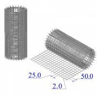 Сетка оцинкованная в рулонах 25х50х2