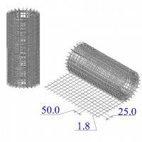 Сетка оцинкованная в рулонах 25х50х1,8