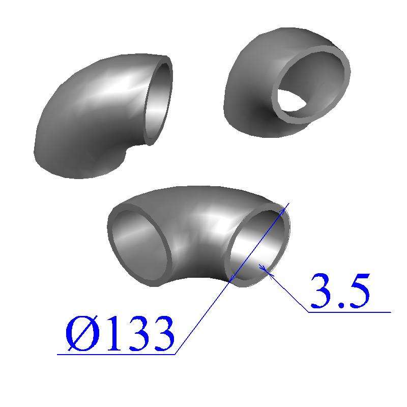 Отводы стальные 133х3,5 оцинкованные
